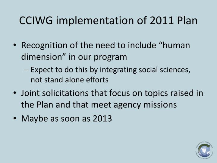 CCIWG implementation of 2011 Plan
