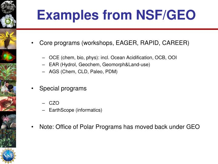 Examples from NSF/GEO