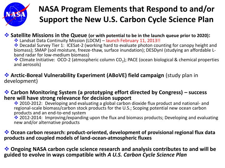 NASA Program Elements that Respond to and/or Support the New U.S. Carbon Cycle Science Plan
