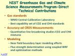 nist greenhouse gas and climate science measurements program direct technical contributions