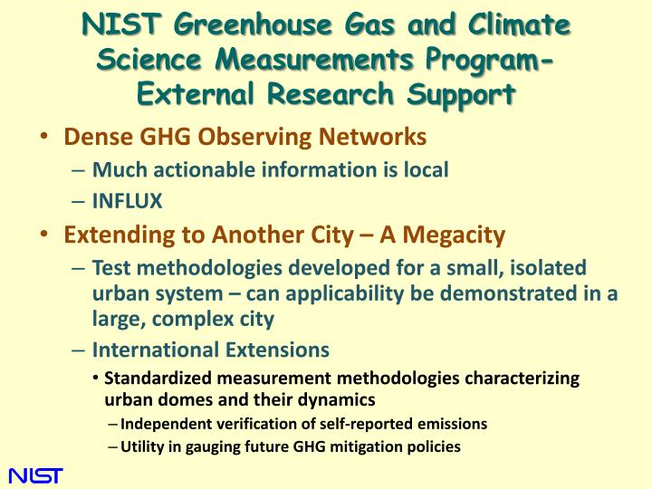 NIST Greenhouse Gas and Climate Science Measurements