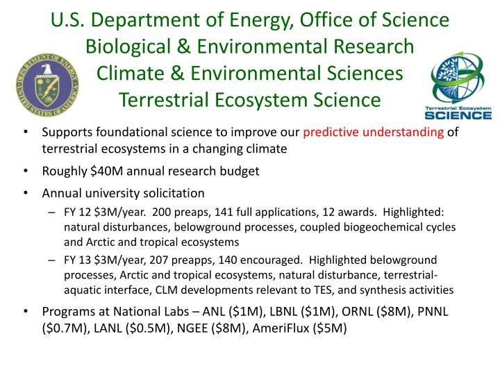 U.S. Department of Energy, Office of Science Biological & Environmental Research