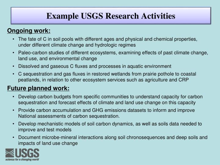Example USGS Research Activities