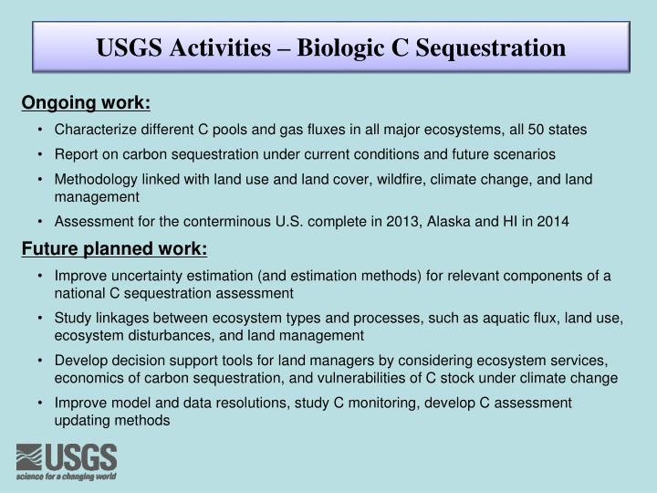USGS Activities – Biologic C Sequestration