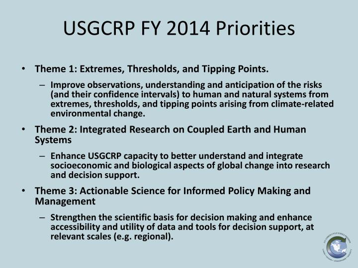USGCRP FY 2014 Priorities