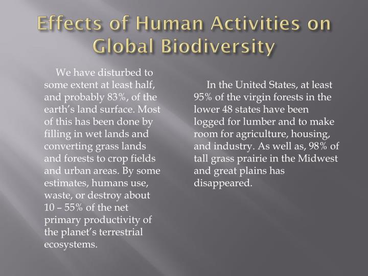 Effects of Human Activities on Global Biodiversity
