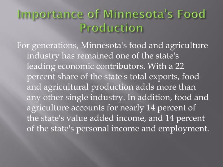 Importance of Minnesota's Food Production