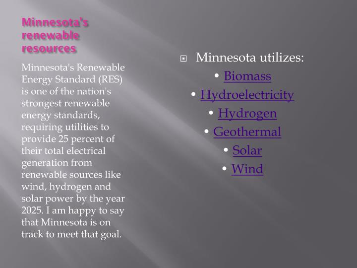 Minnesota's renewable resources