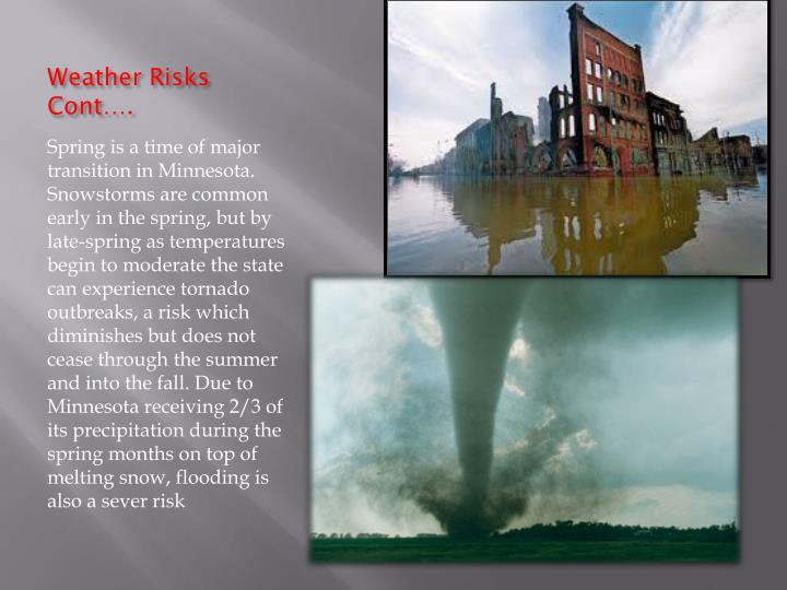 Weather Risks Cont….