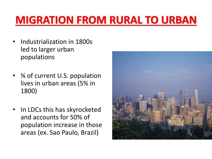 MIGRATION FROM RURAL TO URBAN