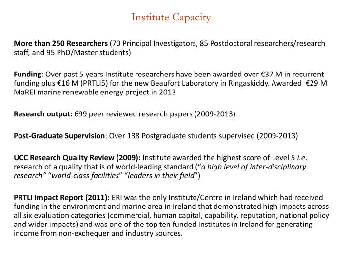 Institute Capacity