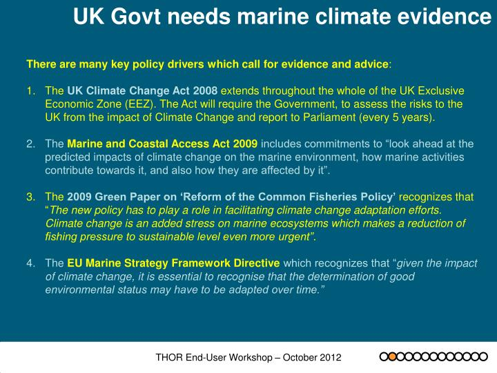 UK Govt needs marine climate evidence