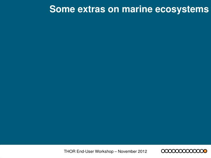 Some extras on marine ecosystems