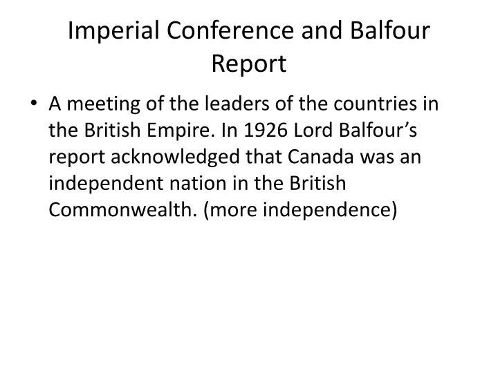 Imperial Conference and Balfour Report