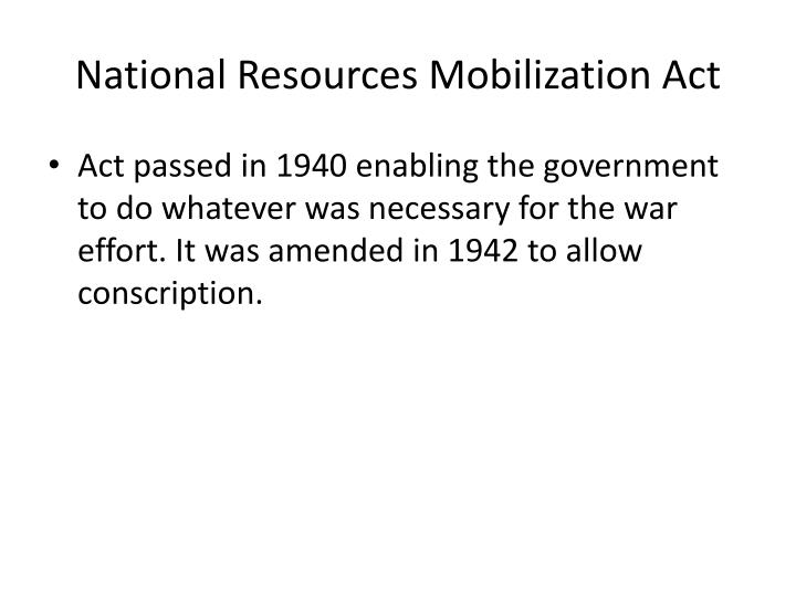 National Resources Mobilization Act