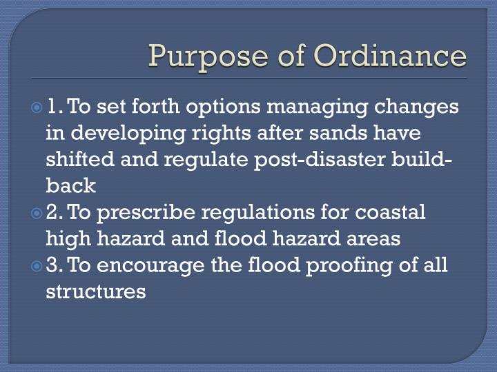 Purpose of Ordinance