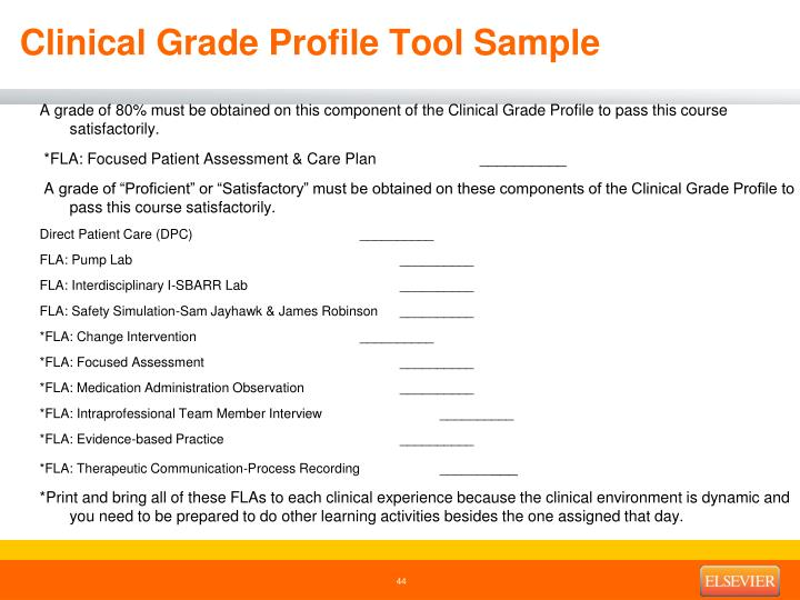 Clinical Grade Profile Tool