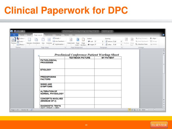 Clinical Paperwork for DPC