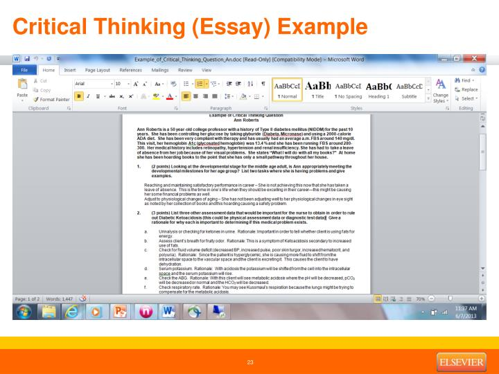 Critical Thinking (Essay