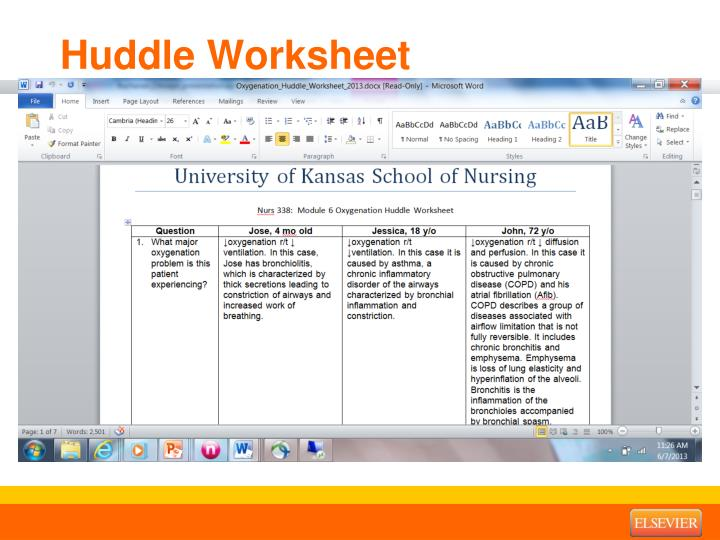 Huddle Worksheet