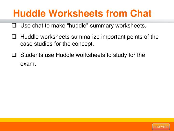 Huddle Worksheets from Chat