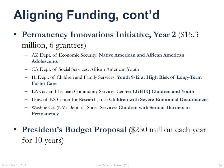 Aligning Funding, cont'd