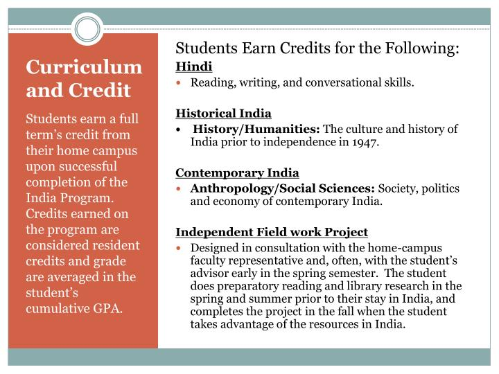Students Earn Credits for the Following: