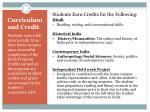 curriculum and credit