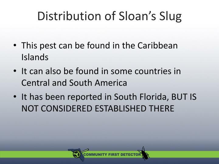 Distribution of Sloan's Slug