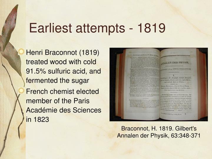 Earliest attempts - 1819