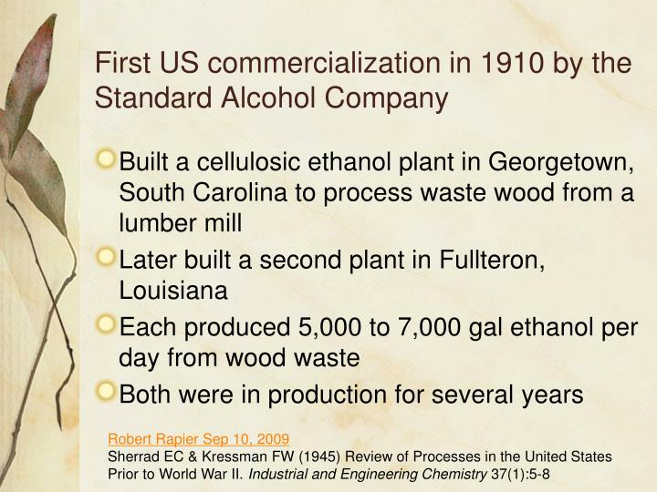 First US commercialization in 1910 by the