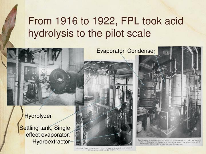 From 1916 to 1922, FPL took acid hydrolysis to the pilot scale