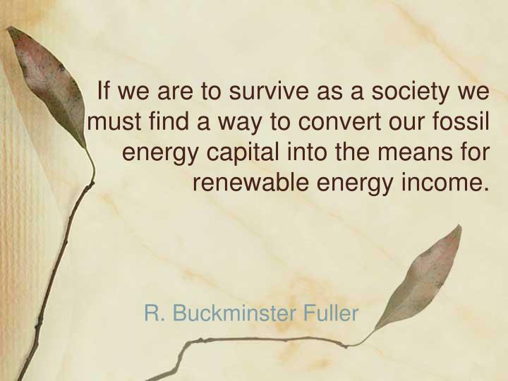 If we are to survive as a society we must find a way to convert our fossil energy capital into the m...