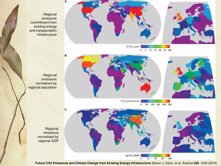 Regional emissions commitment from existing energy and transportation infrastructure