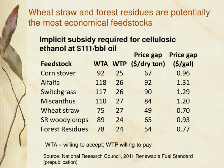 Wheat straw and forest residues are potentially the most economical feedstocks