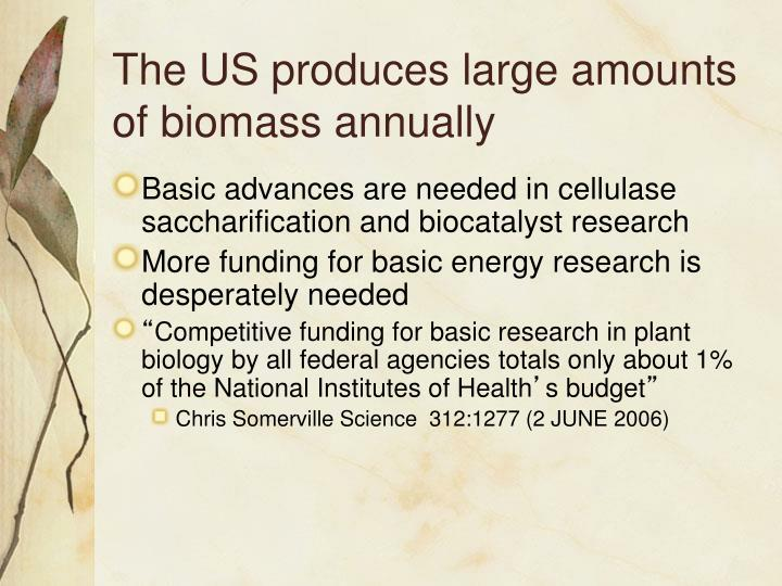 The US produces large amounts of biomass annually