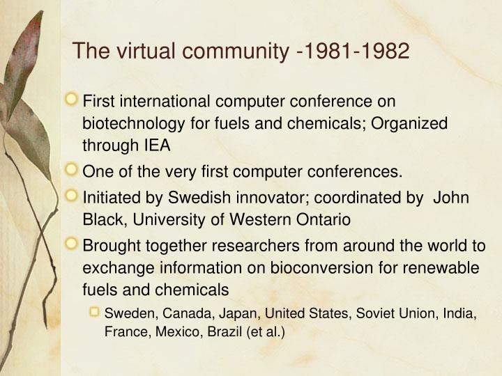 The virtual community -1981-1982