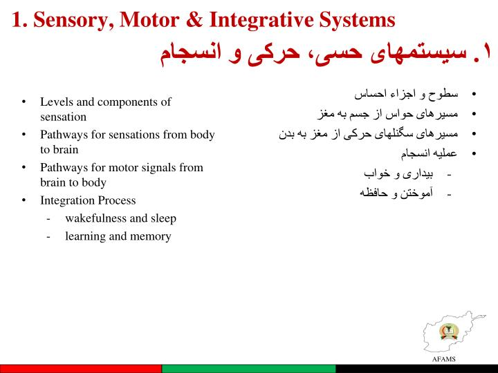 1. Sensory, Motor & Integrative Systems