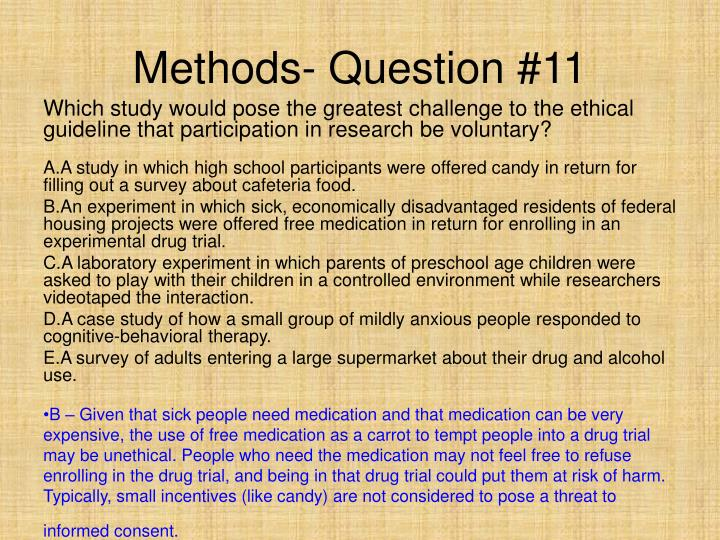 Methods- Question #11