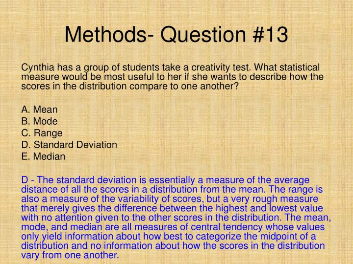 Methods- Question #13