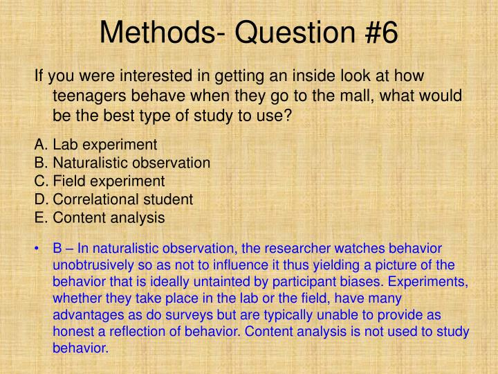 Methods- Question #6