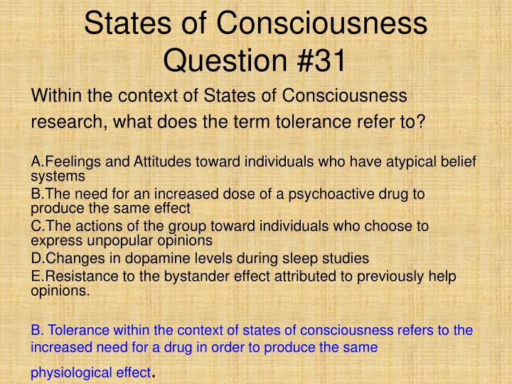 States of Consciousness Question #31