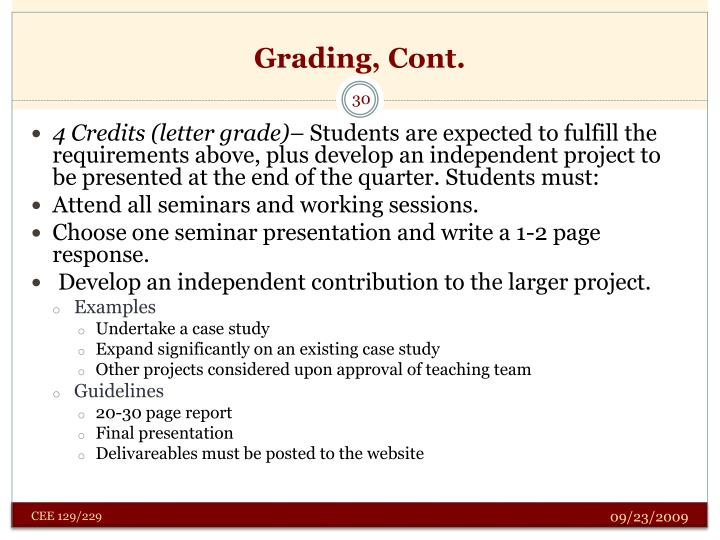 Grading, Cont.