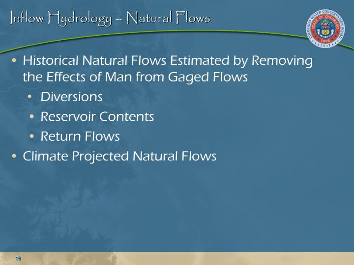 Inflow Hydrology –