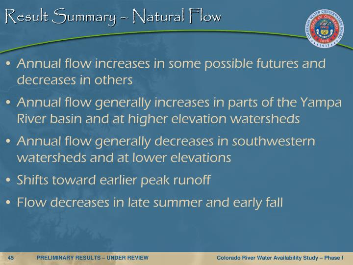 Result Summary – Natural Flow