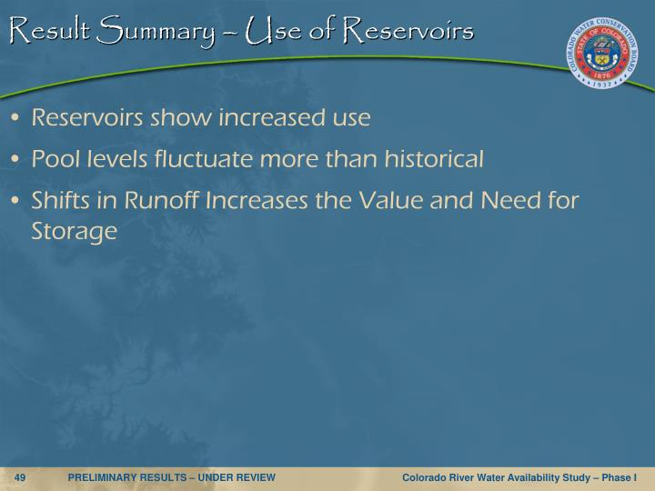 Result Summary – Use of Reservoirs