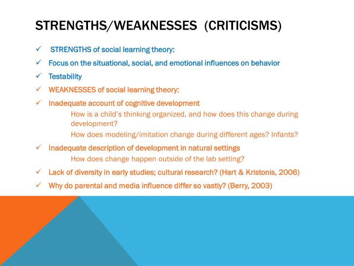 what are the strength and weakness of self control theories Chapter 6: social process theories soc 327  strength of this theory: weakness of this theory:  gottfredson & hirschi's self-control theory.