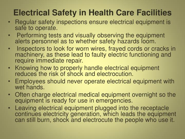 Electrical Safety in Health Care Facilities