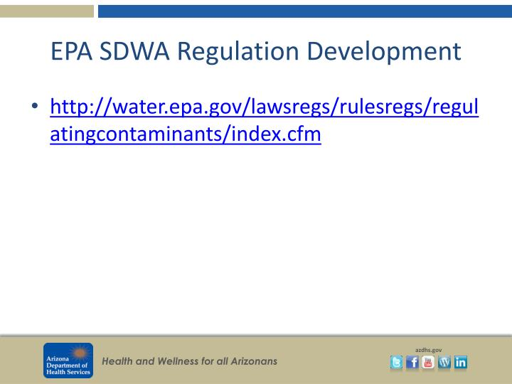 EPA SDWA Regulation Development