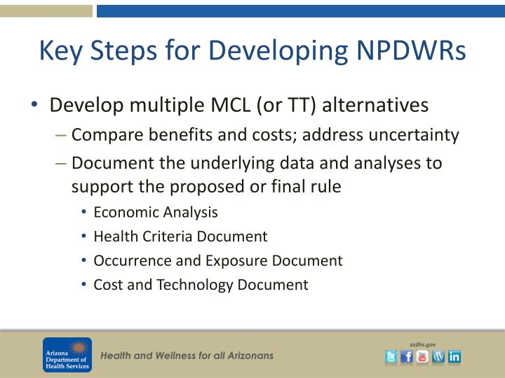 Key Steps for Developing NPDWRs